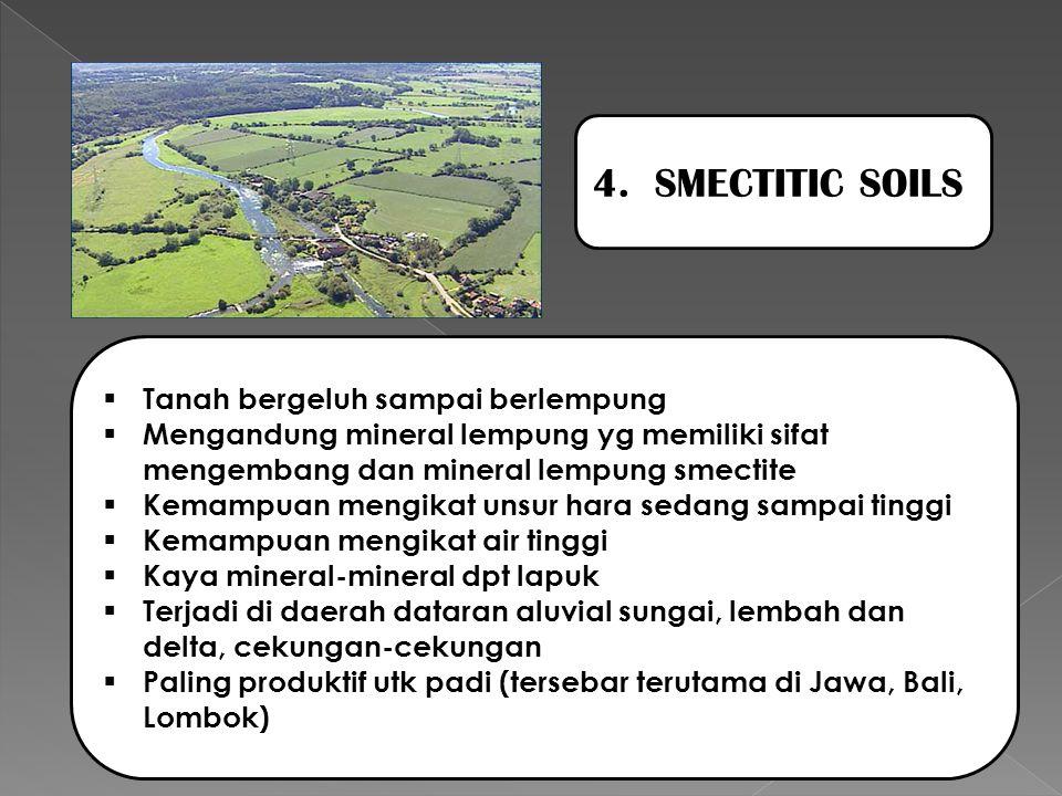 4. SMECTITIC SOILS  Tanah bergeluh sampai berlempung  Mengandung mineral lempung yg memiliki sifat mengembang dan mineral lempung smectite  Kemampu