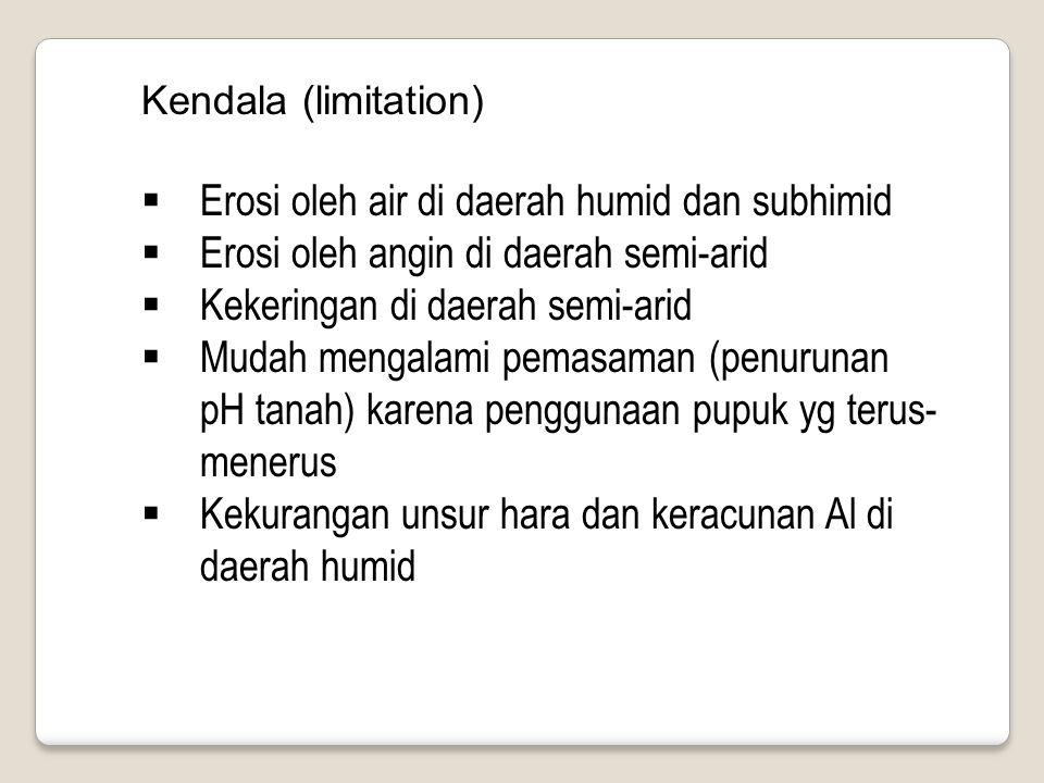 Kendala (limitation)  Erosi oleh air di daerah humid dan subhimid  Erosi oleh angin di daerah semi-arid  Kekeringan di daerah semi-arid  Mudah men