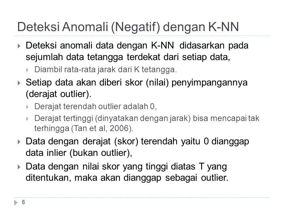 Deteksi Anomali (Negatif) dengan K-NN 6  Deteksi anomali data dengan K-NN didasarkan pada sejumlah data tetangga terdekat dari setiap data,  Diambil