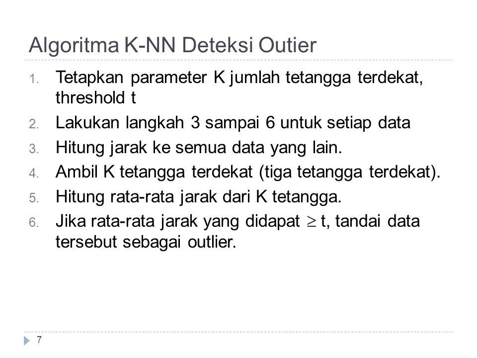 Algoritma K-NN Deteksi Outier 7 1. Tetapkan parameter K jumlah tetangga terdekat, threshold t 2. Lakukan langkah 3 sampai 6 untuk setiap data 3. Hitun