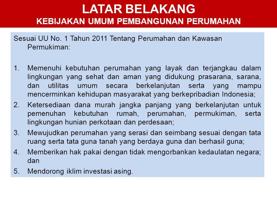 LATAR BELAKANG KEBIJAKAN UMUM PEMBANGUNAN PERUMAHAN Sesuai UU No. 1 Tahun 2011 Tentang Perumahan dan Kawasan Permukiman: 1.Memenuhi kebutuhan perumaha