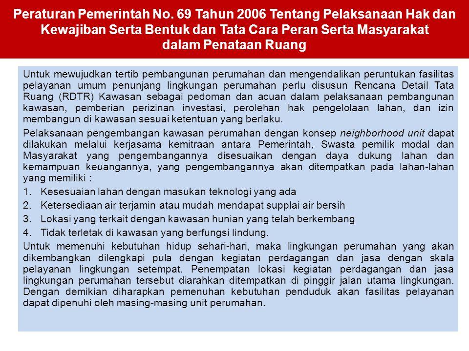Peraturan Pemerintah No. 69 Tahun 2006 Tentang Pelaksanaan Hak dan Kewajiban Serta Bentuk dan Tata Cara Peran Serta Masyarakat dalam Penataan Ruang Un