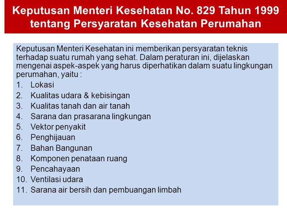 Keputusan Menteri Kesehatan No. 829 Tahun 1999 tentang Persyaratan Kesehatan Perumahan Keputusan Menteri Kesehatan ini memberikan persyaratan teknis t
