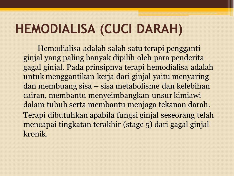 HEMODIALISA (CUCI DARAH) Hemodialisa adalah salah satu terapi pengganti ginjal yang paling banyak dipilih oleh para penderita gagal ginjal.