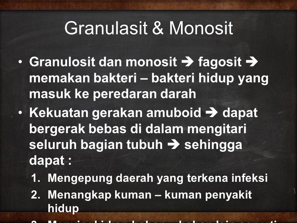 Granulasit & Monosit Granulosit dan monosit  fagosit  memakan bakteri – bakteri hidup yang masuk ke peredaran darah Kekuatan gerakan amuboid  dapat bergerak bebas di dalam mengitari seluruh bagian tubuh  sehingga dapat : 1.