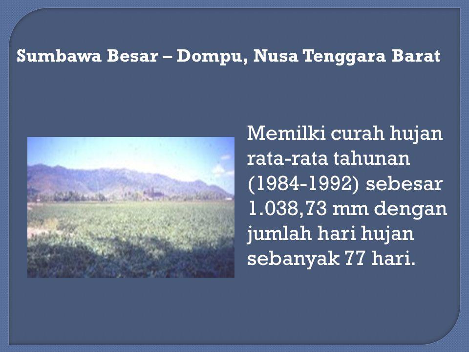 Memilki curah hujan rata-rata tahunan (1984-1992) sebesar 1.038,73 mm dengan jumlah hari hujan sebanyak 77 hari.