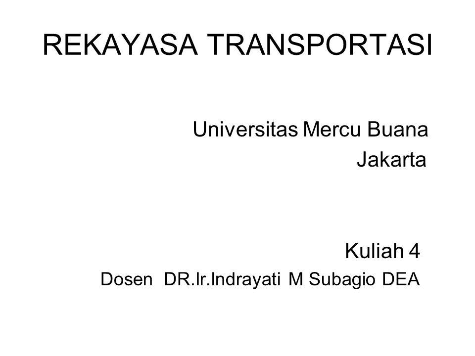 REKAYASA TRANSPORTASI Universitas Mercu Buana Jakarta Kuliah 4 Dosen DR.Ir.Indrayati M Subagio DEA