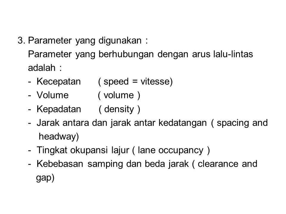 3. Parameter yang digunakan : Parameter yang berhubungan dengan arus lalu-lintas adalah : - Kecepatan ( speed = vitesse) - Volume ( volume ) - Kepadat