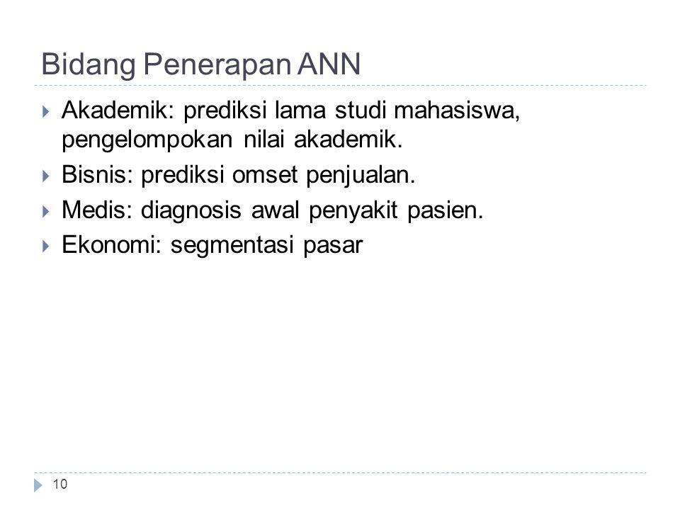 Bidang Penerapan ANN  Akademik: prediksi lama studi mahasiswa, pengelompokan nilai akademik.  Bisnis: prediksi omset penjualan.  Medis: diagnosis a
