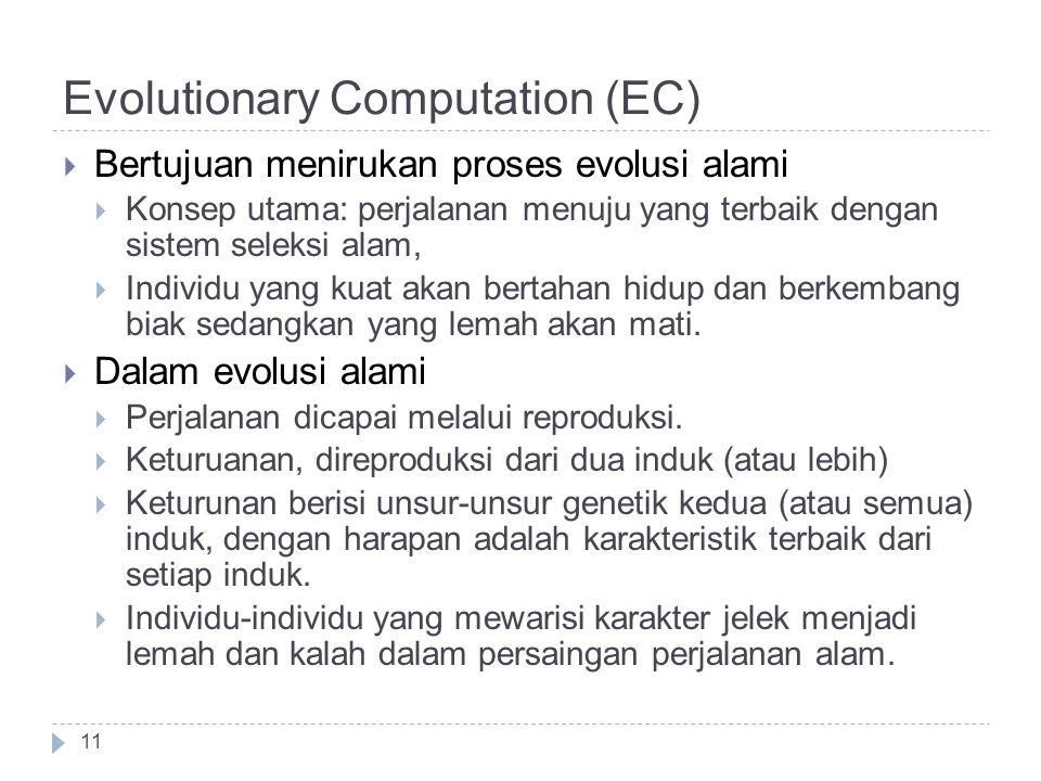 Evolutionary Computation (EC)  Bertujuan menirukan proses evolusi alami  Konsep utama: perjalanan menuju yang terbaik dengan sistem seleksi alam, 