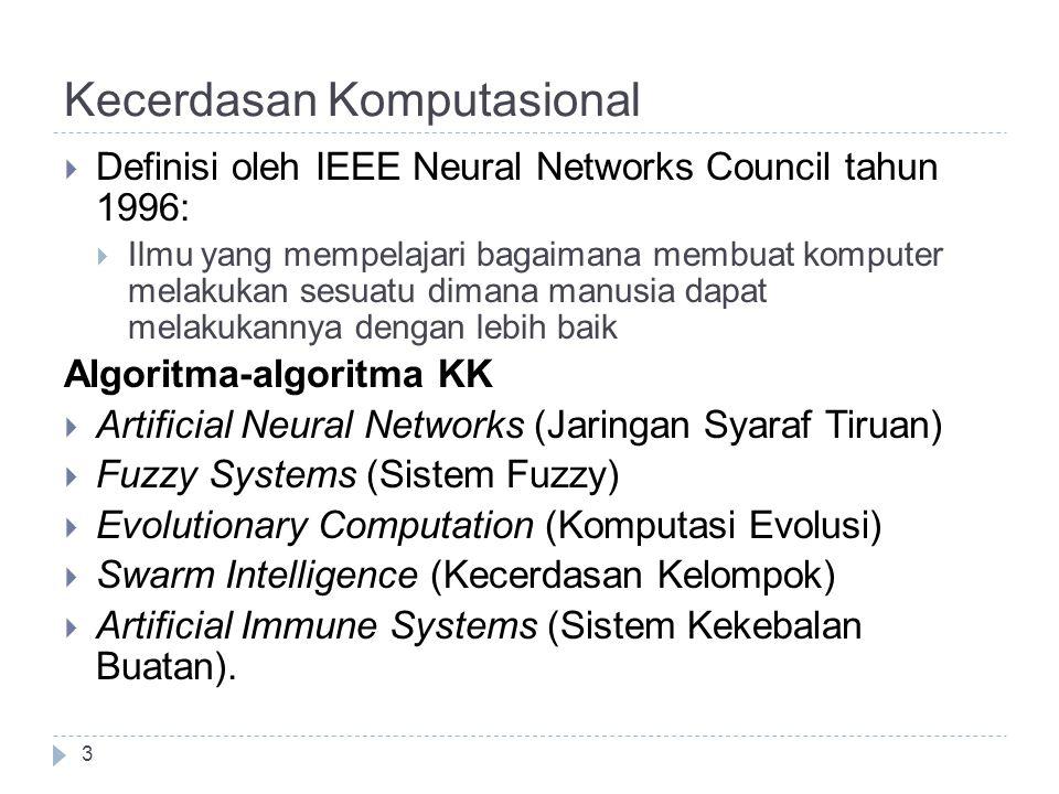Kecerdasan Komputasional  Definisi oleh IEEE Neural Networks Council tahun 1996:  Ilmu yang mempelajari bagaimana membuat komputer melakukan sesuatu