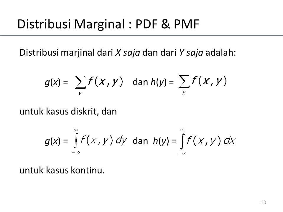 Distribusi Marginal : PDF & PMF Distribusi marjinal dari X saja dan dari Y saja adalah: g(x) = dan h(y) = untuk kasus diskrit, dan g(x) = dan h(y) = u