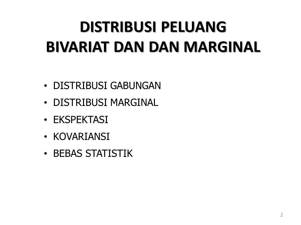 DISTRIBUSI PELUANG BIVARIAT DAN DAN MARGINAL 2 DISTRIBUSI GABUNGAN DISTRIBUSI MARGINAL EKSPEKTASI KOVARIANSI BEBAS STATISTIK