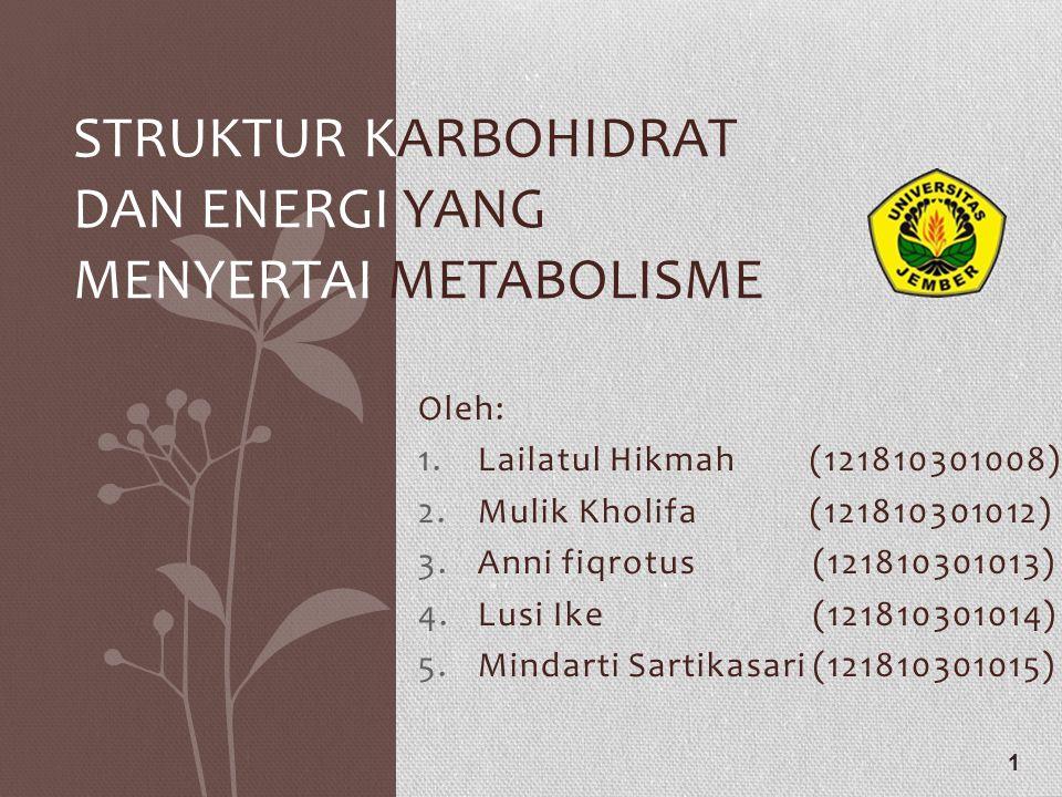 Oleh: 1.Lailatul Hikmah (121810301008) 2.Mulik Kholifa (121810301012) 3.Anni fiqrotus (121810301013) 4.Lusi Ike (121810301014) 5.Mindarti Sartikasari (121810301015) 1 STRUKTUR KARBOHIDRAT DAN ENERGI YANG MENYERTAI METABOLISME