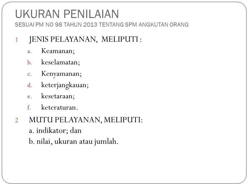 UKURAN PENILAIAN SESUAI PM NO 98 TAHUN 2013 TENTANG SPM ANGKUTAN ORANG 1 JENIS PELAYANAN, MELIPUTI : a. Keamanan; b. keselamatan; c. Kenyamanan; d. ke