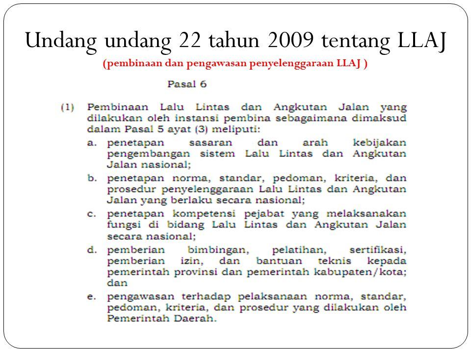Undang undang 22 tahun 2009 tentang LLAJ (pembinaan dan pengawasan penyelenggaraan LLAJ )