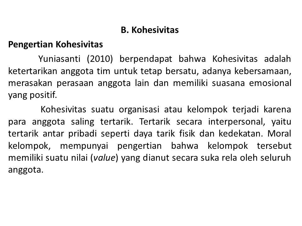 B. Kohesivitas Pengertian Kohesivitas Yuniasanti (2010) berpendapat bahwa Kohesivitas adalah ketertarikan anggota tim untuk tetap bersatu, adanya kebe
