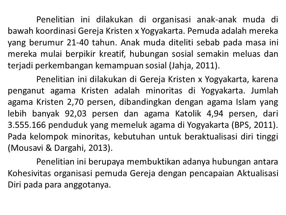 Penelitian ini dilakukan di organisasi anak-anak muda di bawah koordinasi Gereja Kristen x Yogyakarta. Pemuda adalah mereka yang berumur 21-40 tahun.