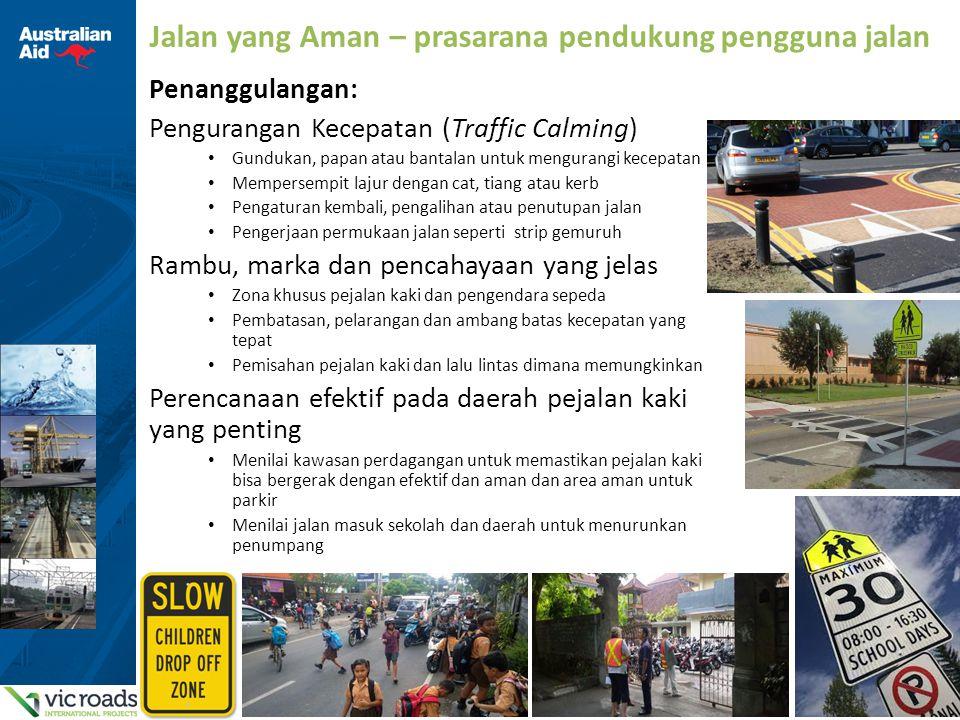 12 Jalan yang Aman – prasarana pendukung pengguna jalan Penanggulangan: Pengurangan Kecepatan (Traffic Calming) Gundukan, papan atau bantalan untuk me