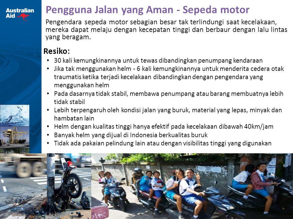 15 Pengguna Jalan yang Aman - Sepeda motor Resiko: 30 kali kemungkinannya untuk tewas dibandingkan penumpang kendaraan Jika tak menggunakan helm - 6 k