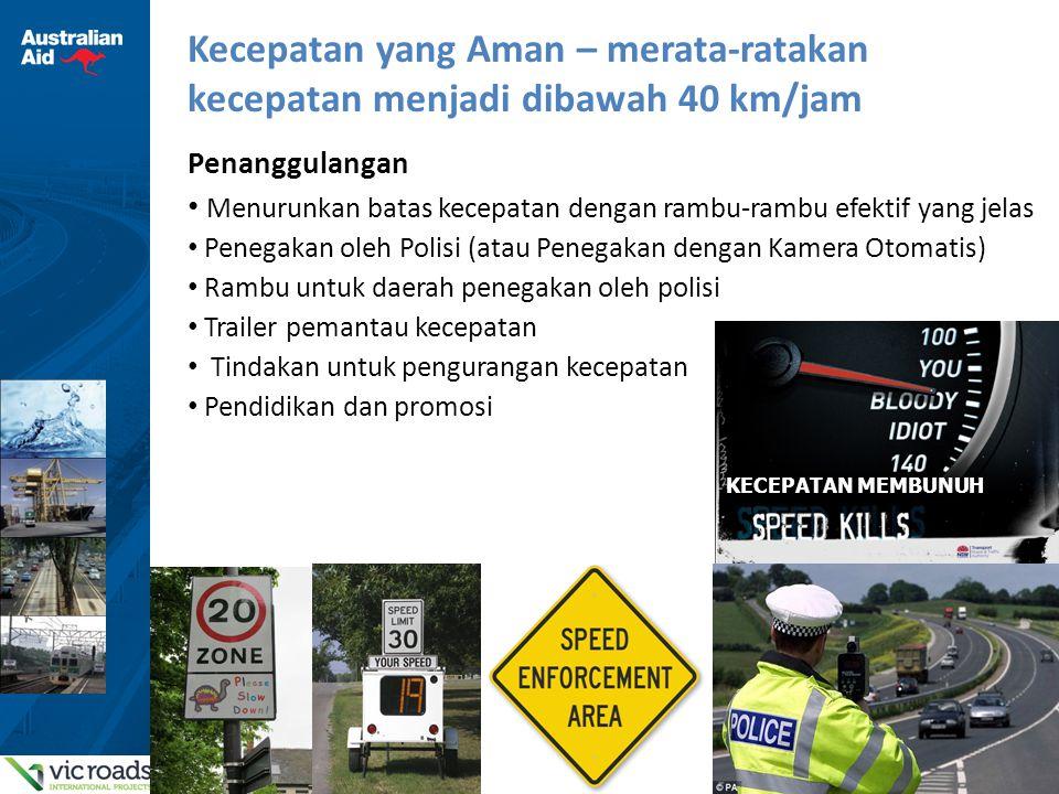 17 Sistem Aman Pendukung Pengguna Jalan Rentan di Bandung 1.Mengelola kecepatan melalui kombinasi dari perambuan, penegakan dan pengurangan kecepatan 2.Menggunakan penyeberangan yang sesuai dengan kecepatan di lingkungan sekitar – preferensi untuk menggunakan tempat penyeberangan dengan menggunakan tombol lampu penyeberangan (Pelican crossing) kecuali di daerah kecepatan rendah yang dikontrol 3.Memastikan tempat berjalan yang tidak terputus, terpelihara dan bebas bahaya, terdapat tempat khusus untuk parkir dan menjemput serta kawasan pedagang 4.Menilai kawasan untuk prasarana khusus bersepeda aman dan desain perbaikan yang tepat 5.Membuat kampanye promosi yang berkaitan dengan resiko-resiko yang ditargetkan – misalnya penggunaan helem 6.Membentuk kelompok referensi untuk mengkoordinasikan masukan dari instansi-instansi termasuk Pekerjaan Umum, Penegakan, Pendidikan dengan menggunakan data untuk menentukan data dasar dan memantau keberhasilan