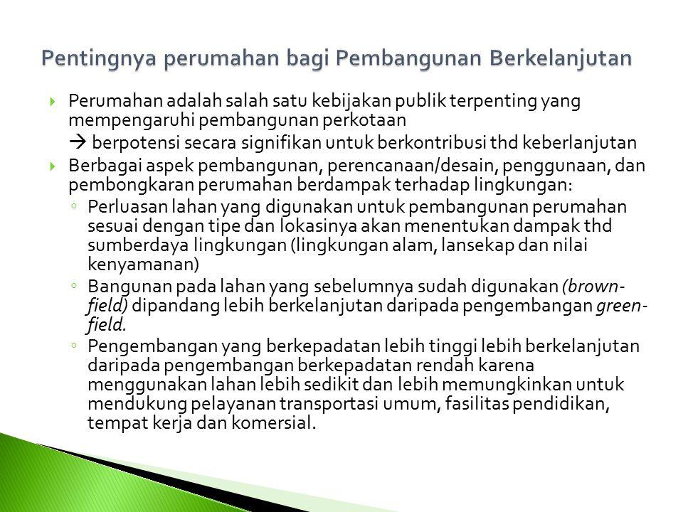  Perumahan adalah salah satu kebijakan publik terpenting yang mempengaruhi pembangunan perkotaan  berpotensi secara signifikan untuk berkontribusi t
