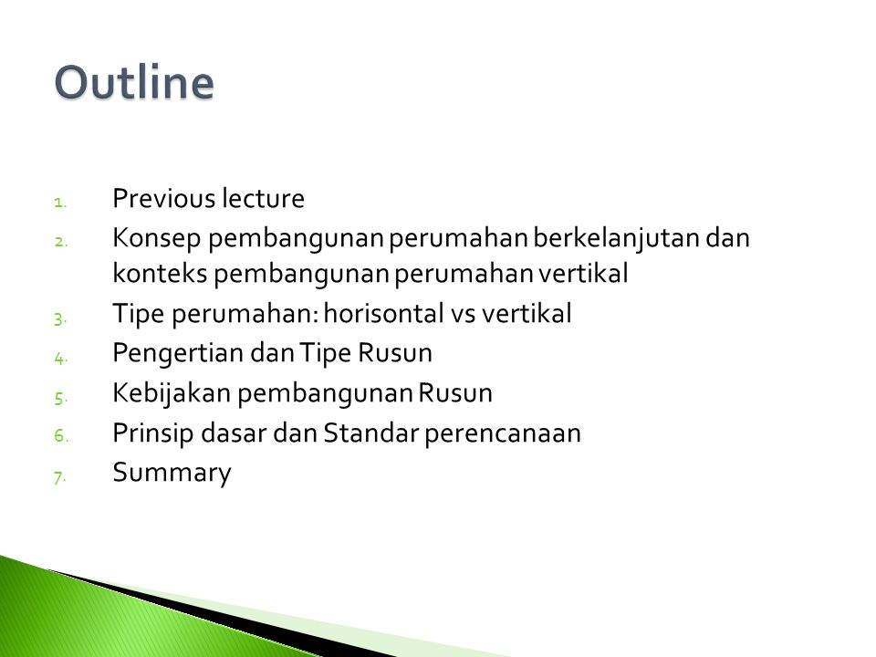 1.Previous lecture 2.