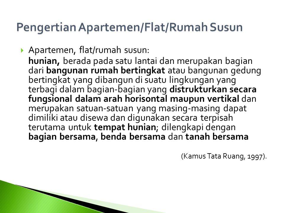  Apartemen, flat/rumah susun: hunian, berada pada satu lantai dan merupakan bagian dari bangunan rumah bertingkat atau bangunan gedung bertingkat yan