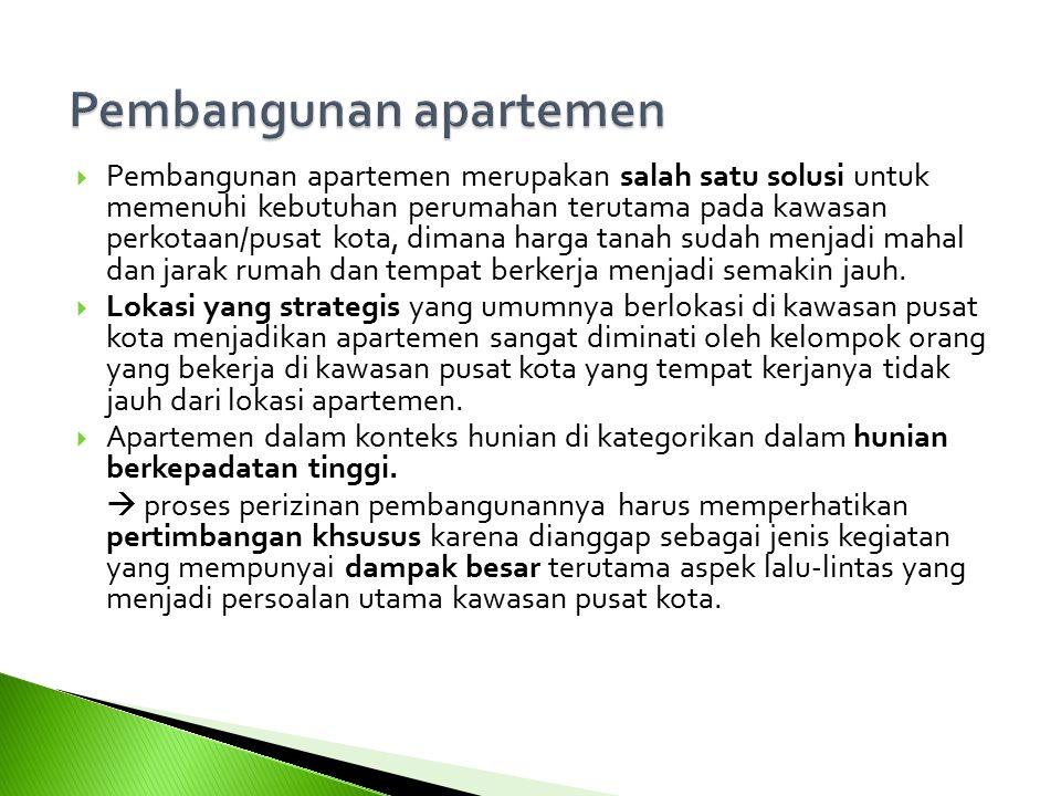  Pembangunan apartemen merupakan salah satu solusi untuk memenuhi kebutuhan perumahan terutama pada kawasan perkotaan/pusat kota, dimana harga tanah