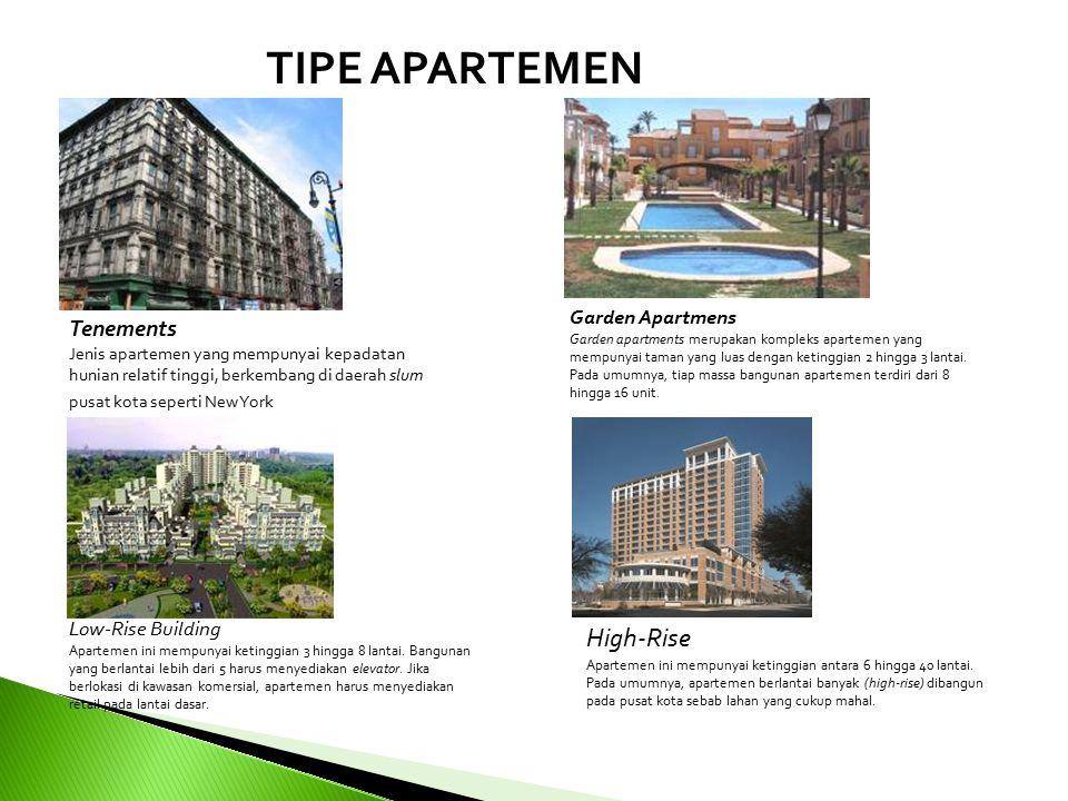 Tenements Jenis apartemen yang mempunyai kepadatan hunian relatif tinggi, berkembang di daerah slum pusat kota seperti New York Garden Apartmens Garden apartments merupakan kompleks apartemen yang mempunyai taman yang luas dengan ketinggian 2 hingga 3 lantai.