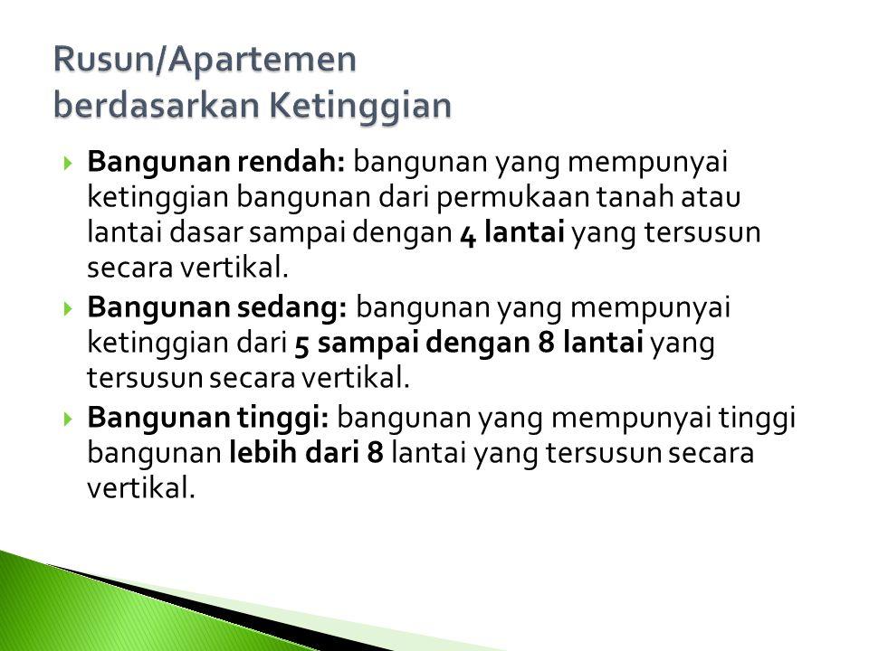  Bangunan rendah: bangunan yang mempunyai ketinggian bangunan dari permukaan tanah atau lantai dasar sampai dengan 4 lantai yang tersusun secara vert
