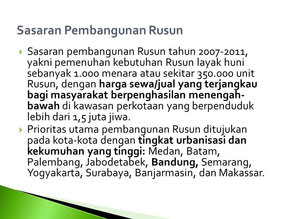  Sasaran pembangunan Rusun tahun 2007-2011, yakni pemenuhan kebutuhan Rusun layak huni sebanyak 1.000 menara atau sekitar 350.000 unit Rusun, dengan harga sewa/jual yang terjangkau bagi masyarakat berpenghasilan menengah- bawah di kawasan perkotaan yang berpenduduk lebih dari 1,5 juta jiwa.