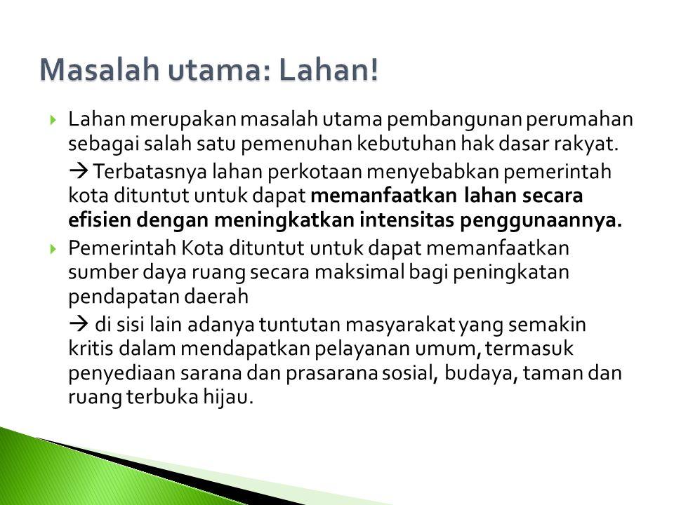  Lahan merupakan masalah utama pembangunan perumahan sebagai salah satu pemenuhan kebutuhan hak dasar rakyat.