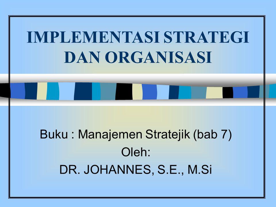 IMPLEMENTASI STRATEGI DAN ORGANISASI Buku : Manajemen Stratejik (bab 7) Oleh: DR. JOHANNES, S.E., M.Si