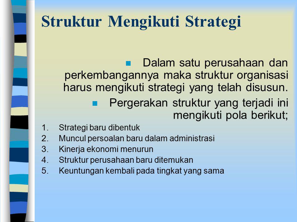 Struktur Mengikuti Strategi n Dalam satu perusahaan dan perkembangannya maka struktur organisasi harus mengikuti strategi yang telah disusun. n Perger