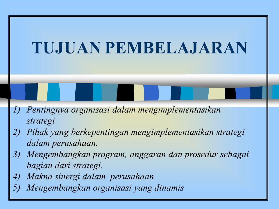 TUJUAN PEMBELAJARAN 1)Pentingnya organisasi dalam mengimplementasikan strategi 2)Pihak yang berkepentingan mengimplementasikan strategi dalam perusahaan.