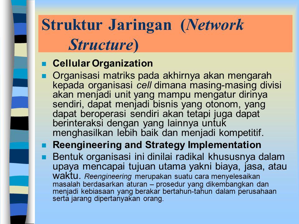 Struktur Jaringan (Network Structure) n Cellular Organization n Organisasi matriks pada akhirnya akan mengarah kepada organisasi cell dimana masing-masing divisi akan menjadi unit yang mampu mengatur dirinya sendiri, dapat menjadi bisnis yang otonom, yang dapat beroperasi sendiri akan tetapi juga dapat berinteraksi dengan yang lainnya untuk menghasilkan lebih baik dan menjadi kompetitif.
