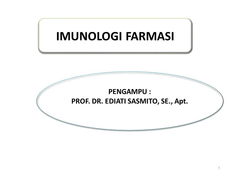 1 IMUNOLOGI FARMASI PENGAMPU : PROF. DR. EDIATI SASMITO, SE., Apt. PENGAMPU : PROF. DR. EDIATI SASMITO, SE., Apt.