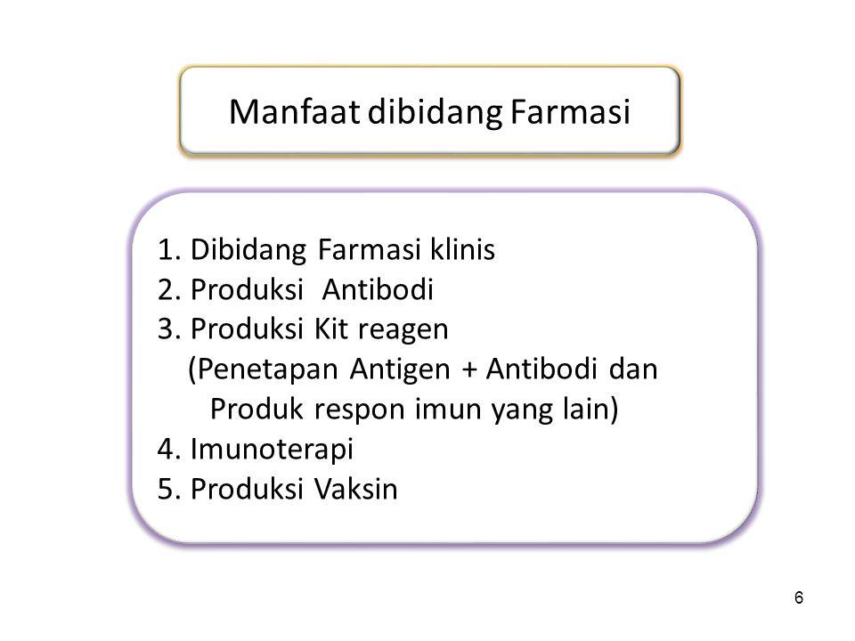 6 Manfaat dibidang Farmasi 1. Dibidang Farmasi klinis 2. Produksi Antibodi 3. Produksi Kit reagen (Penetapan Antigen + Antibodi dan Produk respon imun