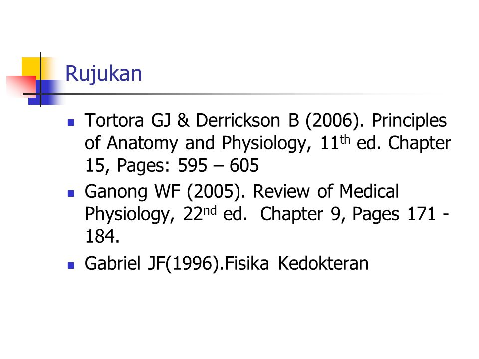 Rujukan Tortora GJ & Derrickson B (2006). Principles of Anatomy and Physiology, 11 th ed.