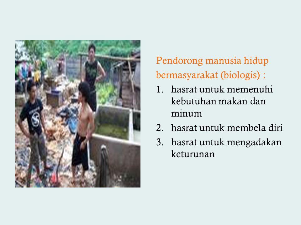 Pendorong manusia hidup bermasyarakat (biologis) : 1.hasrat untuk memenuhi kebutuhan makan dan minum 2.hasrat untuk membela diri 3.hasrat untuk mengad