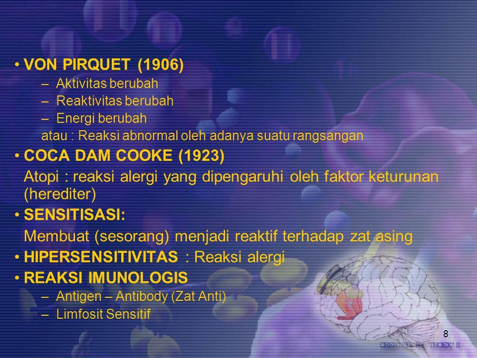29 MEDIATOR2 PENTING DALAM REAKSI HIPERSENSITIFITAS HISTAMIN:- Dalam sel mast- Kontraksi otot polos - Dilatasi pembuluh darah- Permeabilitas ↑↑ - Exudasi- Oedema LEUKOTRINE :- SRS-A (SlowReactinSubtance of Anaphylaxis) - Kontraksi otot polos SEROTONIN:- Dilatasi pemb.