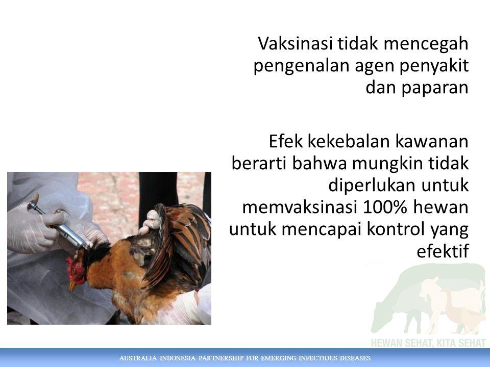 AUSTRALIA INDONESIA PARTNERSHIP FOR EMERGING INFECTIOUS DISEASES Vaksinasi tidak mencegah pengenalan agen penyakit dan paparan Efek kekebalan kawanan berarti bahwa mungkin tidak diperlukan untuk memvaksinasi 100% hewan untuk mencapai kontrol yang efektif
