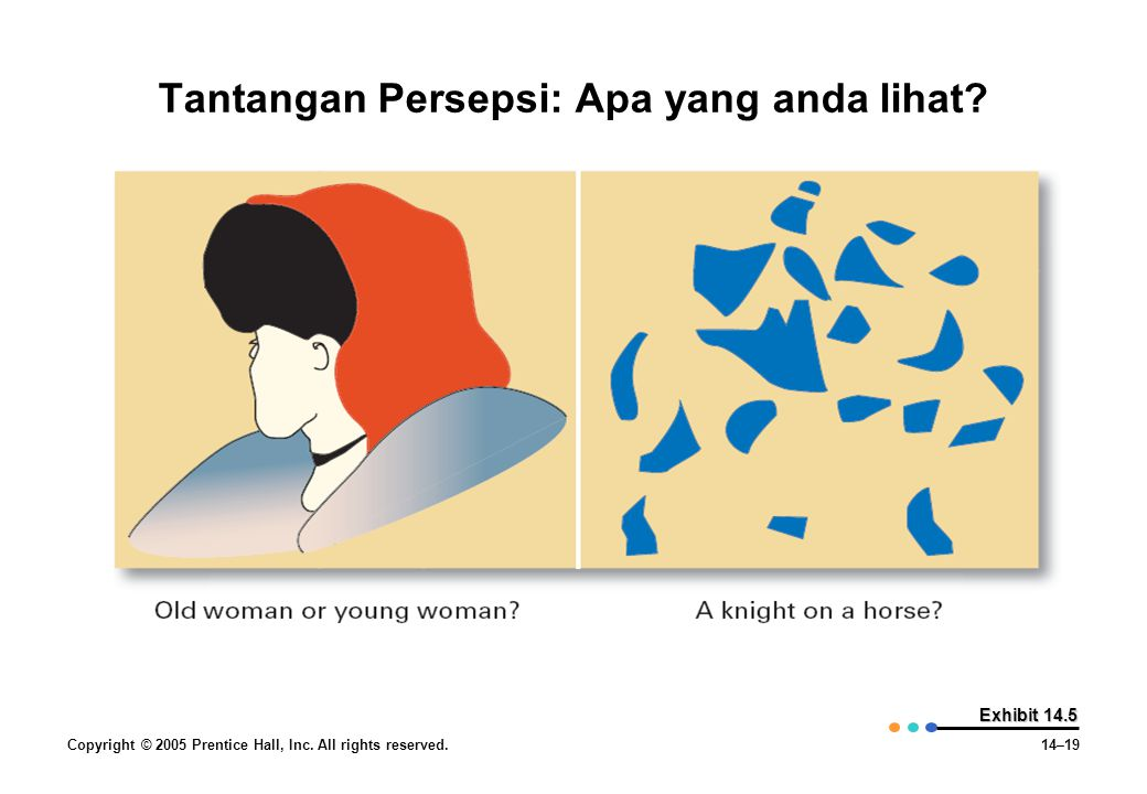 Copyright © 2005 Prentice Hall, Inc. All rights reserved.14–19 Exhibit 14.5 Tantangan Persepsi: Apa yang anda lihat?