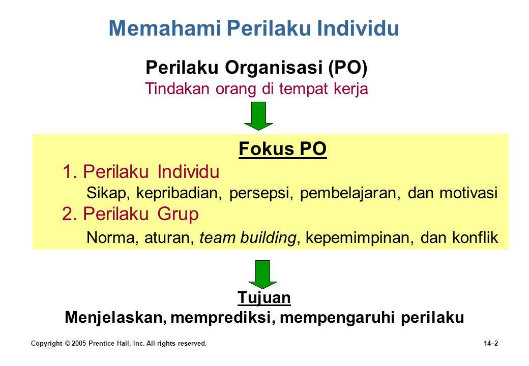 14–2 Memahami Perilaku Individu Tujuan Menjelaskan, memprediksi, mempengaruhi perilaku Perilaku Organisasi (PO) Tindakan orang di tempat kerja Fokus P