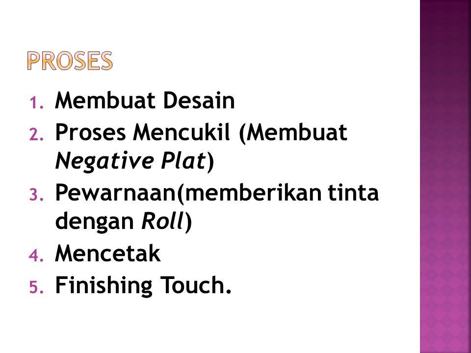 1. Membuat Desain 2. Proses Mencukil (Membuat Negative Plat) 3. Pewarnaan(memberikan tinta dengan Roll) 4. Mencetak 5. Finishing Touch.