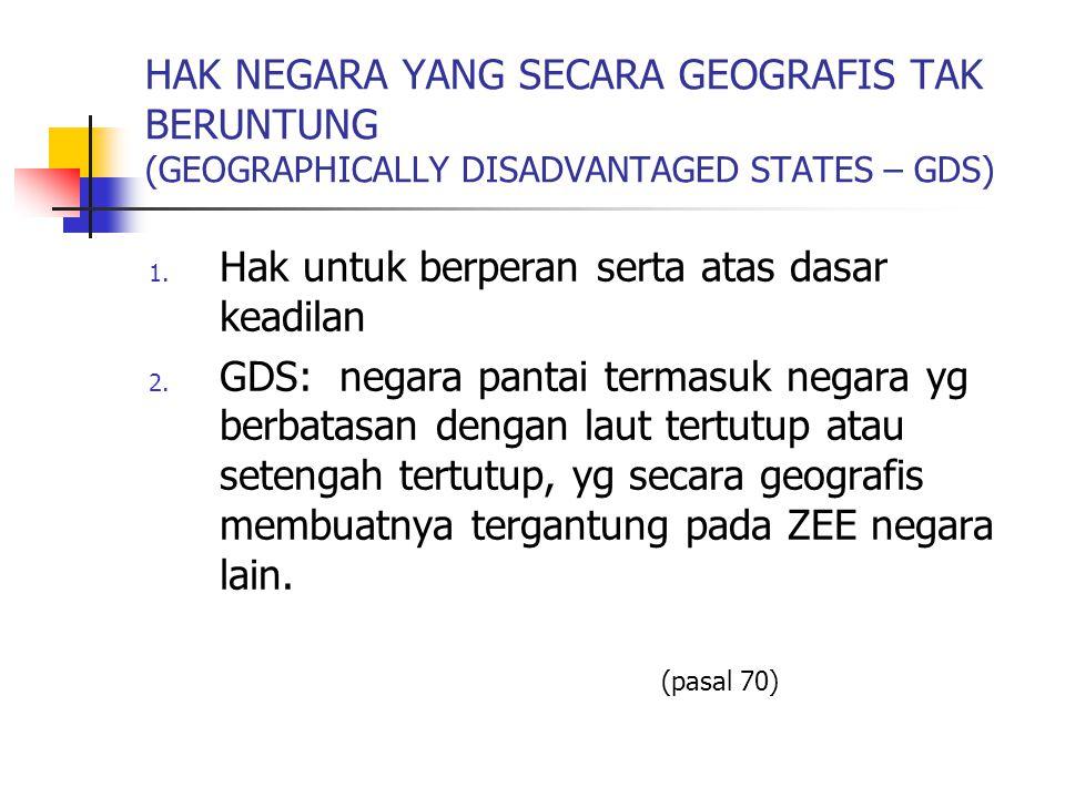 HAK NEGARA YANG SECARA GEOGRAFIS TAK BERUNTUNG (GEOGRAPHICALLY DISADVANTAGED STATES – GDS) 1. Hak untuk berperan serta atas dasar keadilan 2. GDS: neg
