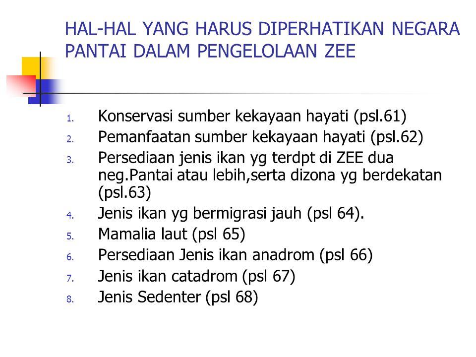 HAL-HAL YANG HARUS DIPERHATIKAN NEGARA PANTAI DALAM PENGELOLAAN ZEE 1. Konservasi sumber kekayaan hayati (psl.61) 2. Pemanfaatan sumber kekayaan hayat
