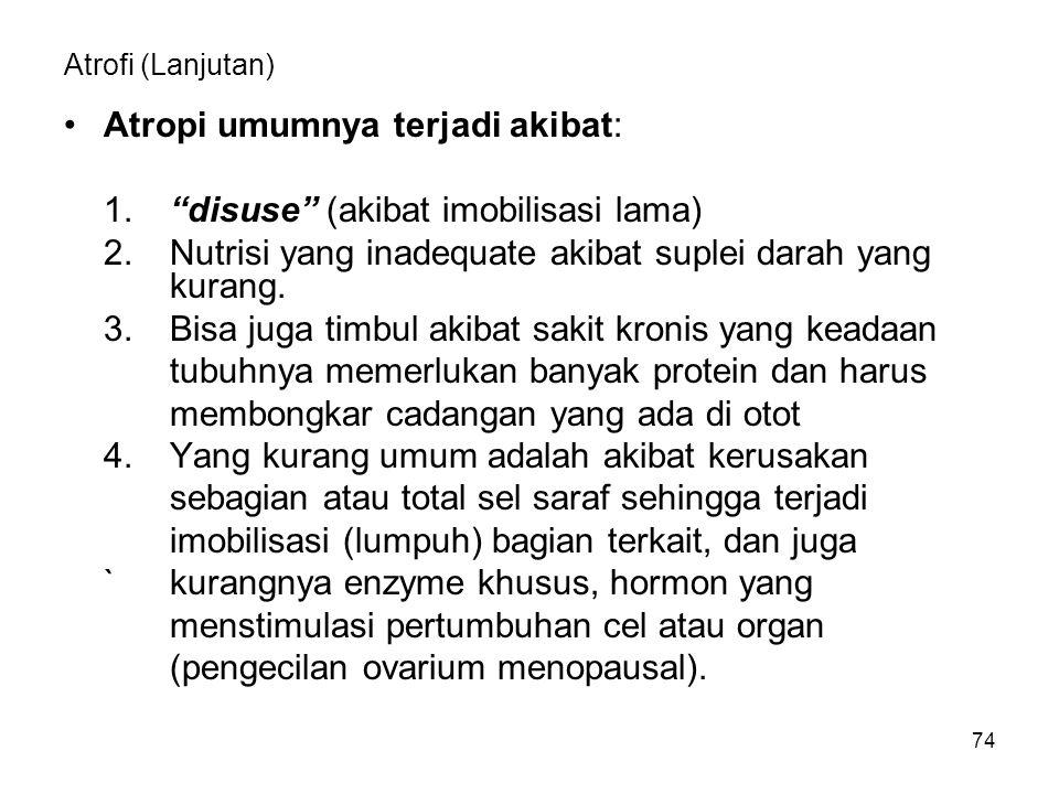 """74 Atrofi (Lanjutan) Atropi umumnya terjadi akibat: 1.""""disuse"""" (akibat imobilisasi lama) 2.Nutrisi yang inadequate akibat suplei darah yang kurang. 3."""