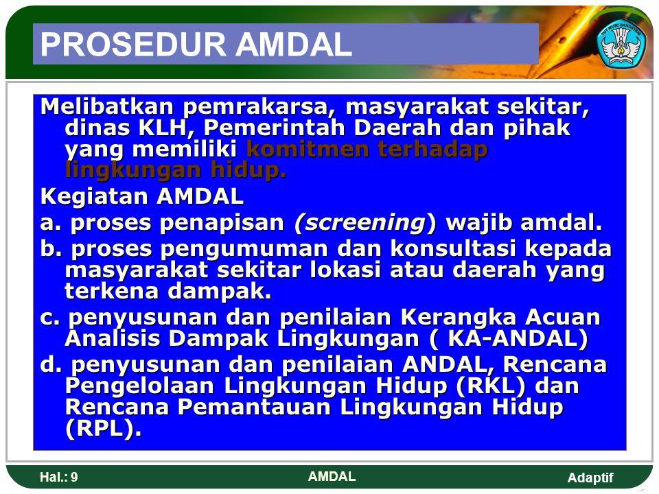 Adaptif Hal.: 10 AMDAL AMRAL Kegiatan Analisis Mengenai Resiko Lingkungan / kegiatan audit lingkungan.